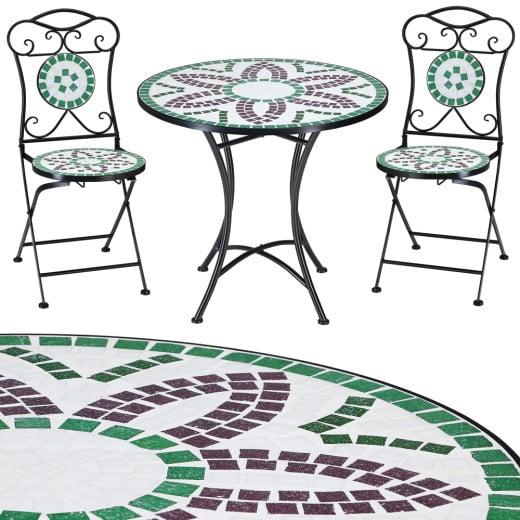 Mosaik Gartentisch-Set Flora mit zwei Klappstühlen