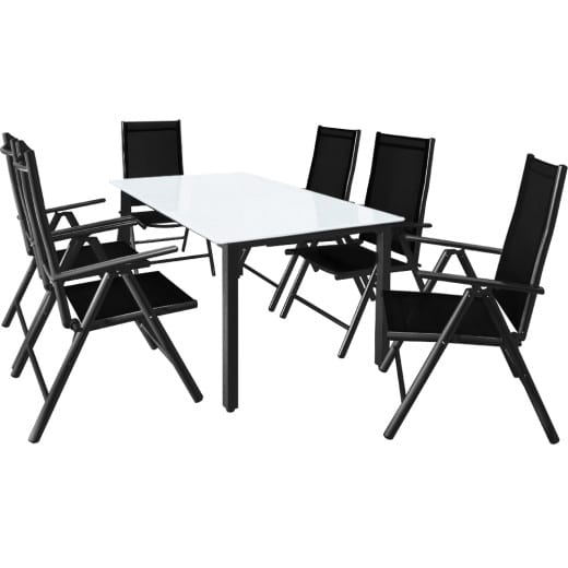 Sitzgruppe Bern 7-tlg. Anthrazit Alu Milchglas