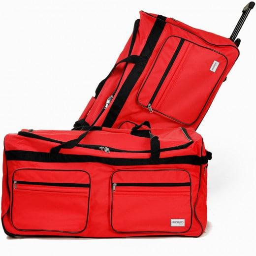 XXL Reisetasche mit Trolleyfunktion 160L rot