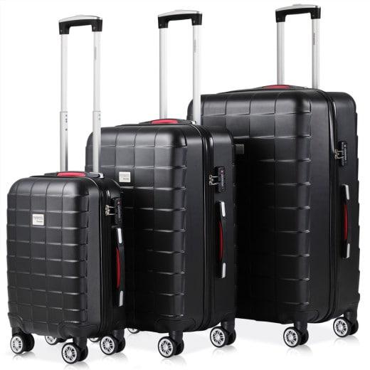Koffer Hartschale 3 tlg. Exopack Schwarz M/L/XL aus ABS 40l, 80l, 105l
