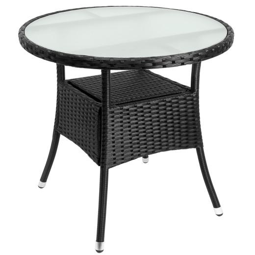 Polyrattan Tisch Schwarz Ø80cm