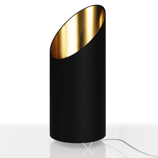 Designlampe Schwarz/Gold LED mit Flammeneffekt