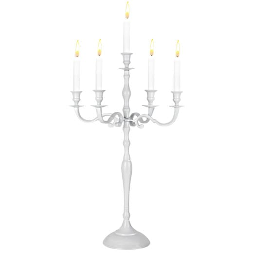 5-armige Kerzenleuchter aus Aluminium in weiß