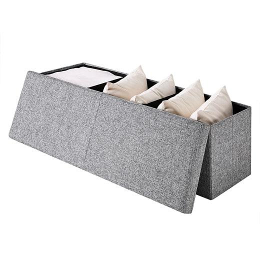 Faltbare Sitztruhe mit klappbarem Deckel in grau