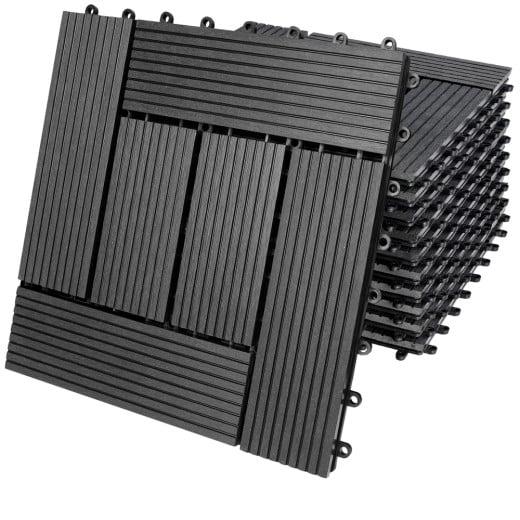 WPC Fliesen 11er-Set Klassik Anthrazit - 30x30 cm