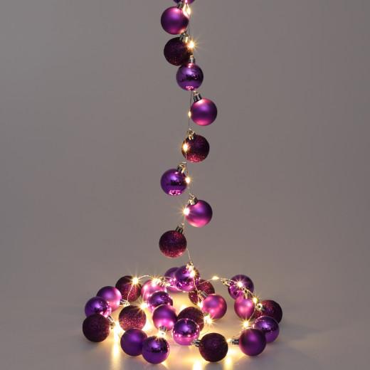 Lichterkette LED Lila 2m Kugeln