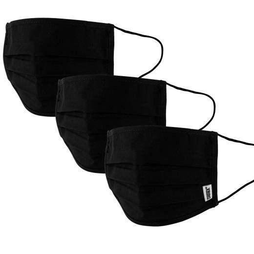 Mund-Nasen-Maske 3er-Set Schwarz - 100% Baumwolle