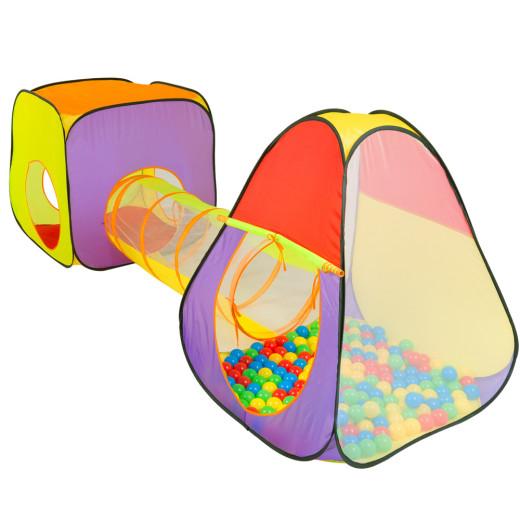 3teiliges Spielzelt XL mit Tunnel und Pop-Up Funktion