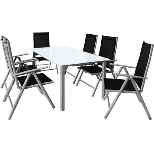 Sitzgruppe Bern 7-tlg. Silber Alu Milchglas