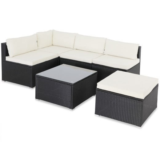 Polyrattan Lounge-Set 16-tlg. Schwarz