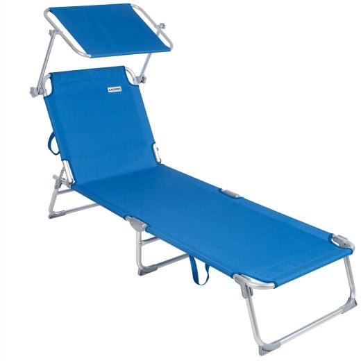 "Sonnenliege ""Ibiza"" Blau Alu mit Sonnendach"
