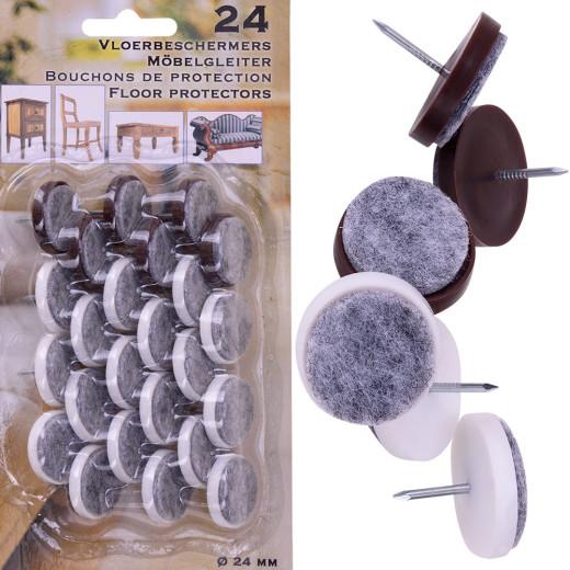 24 Filzgleiter mit Nagel - 24mm Durchmesser
