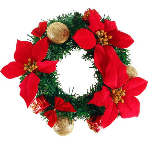 Türkranz Weihnachtskranz 22cm rot