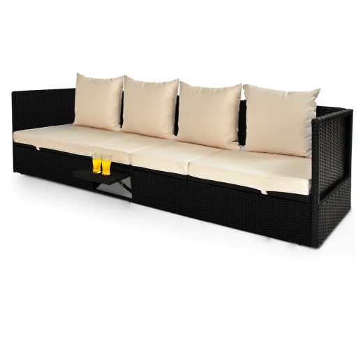 Polyrattan-Bank Schwarz-Creme inklusive ausklappbarem Tisch 200x60x58 cm