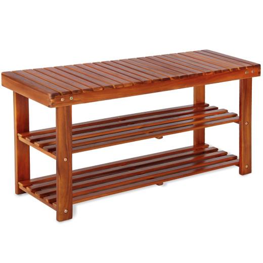 2in1 Schuhregal und Sitzbank aus Akazienholz 90cm