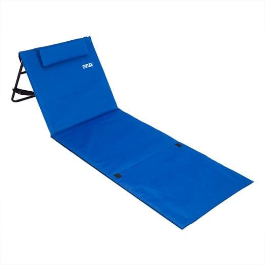 Strandmatte mit Lehne & Kopfkissen 158 cm x 56cm blau