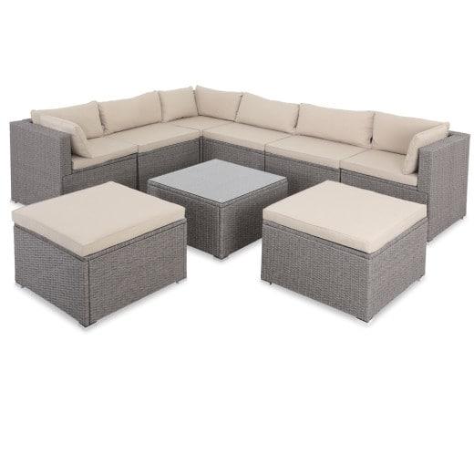 Polyrattan Lounge Set mit 26 Teilen in beige mit creme-farbenen Kissen