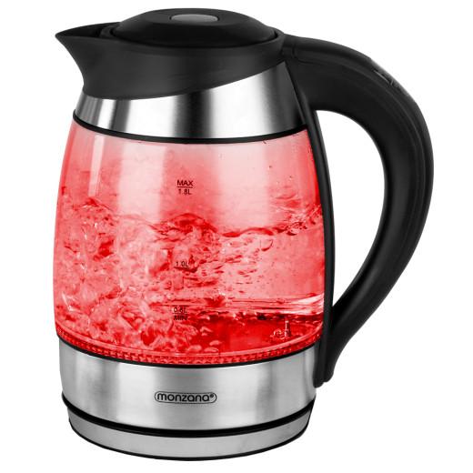 Wasserkocher Glas/Edelstahl mit LED-Farbwechsel 2200W 1,8l Schwarz-Silber