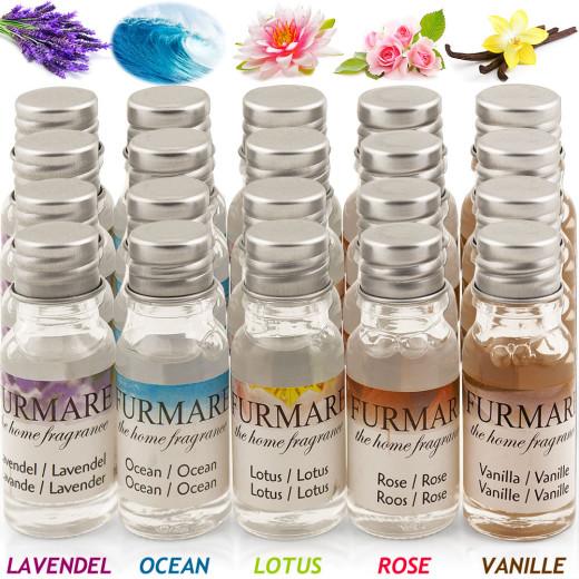 20x10ml Duftöl Lavendel - Ocean - Lotus - Rose - Vanille
