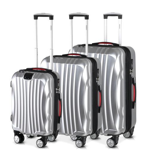 Koffer Hartschale 3-tlg. Ikarus Silber ABS 38/90/105l
