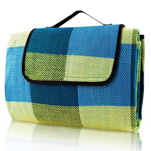 Picknickdecke Blau/Gelb 2x2m