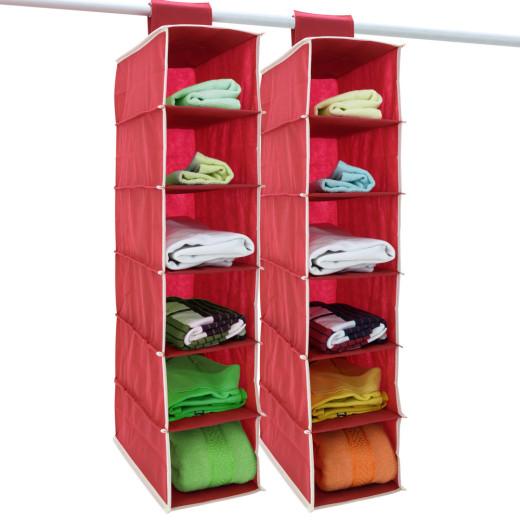 2x Ordnungssystem mit jeweils 6 Etagen - rot mit beigem Rand
