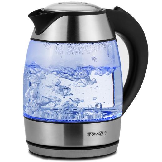 Wasserkocher Schwarz/Silber Glas 1,8L