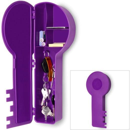 Schlüsselkasten in Schlüsselform lila
