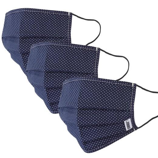 Mund-Nasen-Maske 3er-Set Blau-Punkte 100% Baumwolle