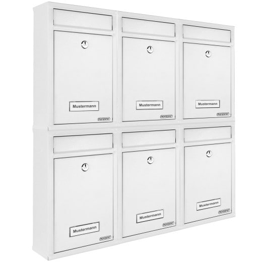 6x Briefkasten mit je 2 Schlüsseln - weiß