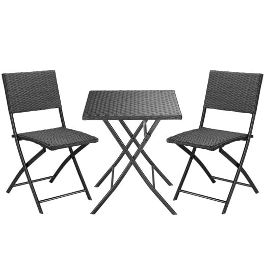 Polyrattan Sitzgruppe Rom 3-tlg. Schwarz