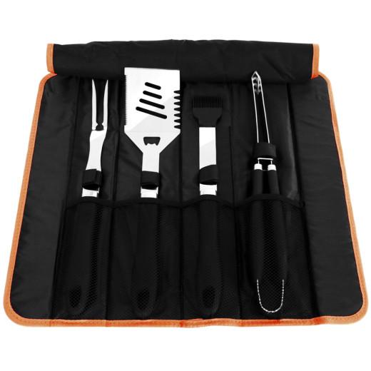 Grillbesteck 5-tlg. Schwarz inkl. Tasche