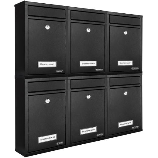 6x Briefkasten mit 2 Schlüsseln - schwarz