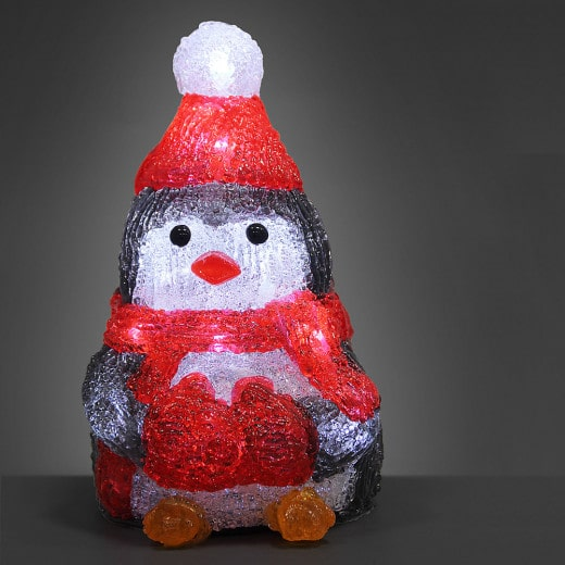 LED Acryl Figur Weihnachten Pinguin