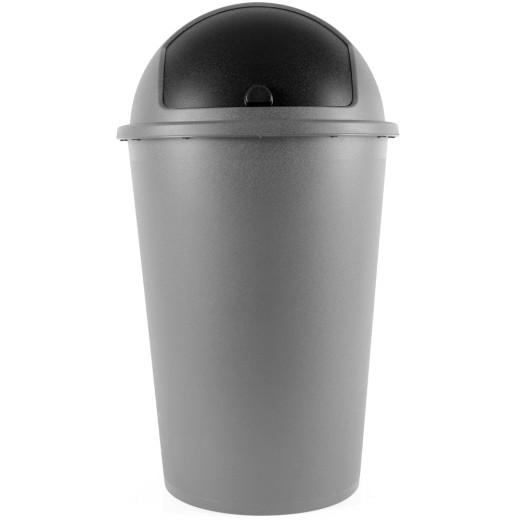 Mülleimer Silber Kunststoff 50L