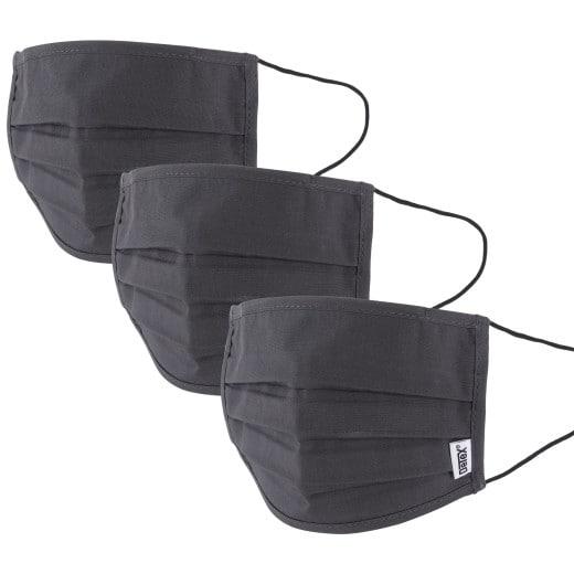 Mund-Nasen-Maske 3er-Set Anthrazit - 100% Baumwolle