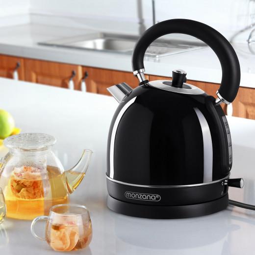 Wasserkocher Edelstahl im Retro Design 2200W 1,8l Schwarz