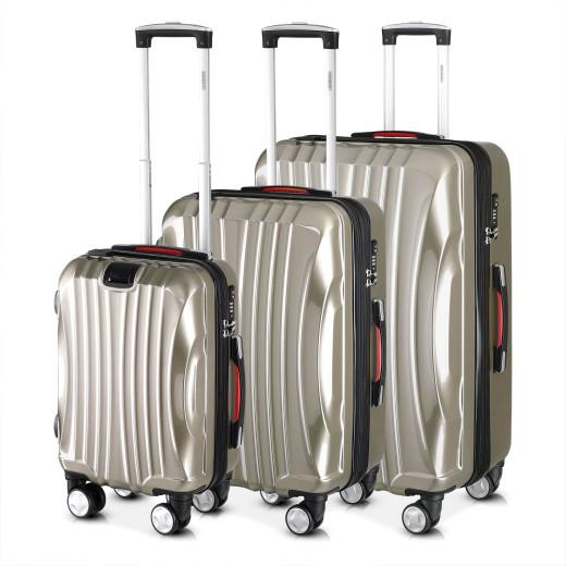 Koffer Hartschale 3 tlg. Ikarus Champagner M/L/XL aus ABS 38l, 90l, 105l