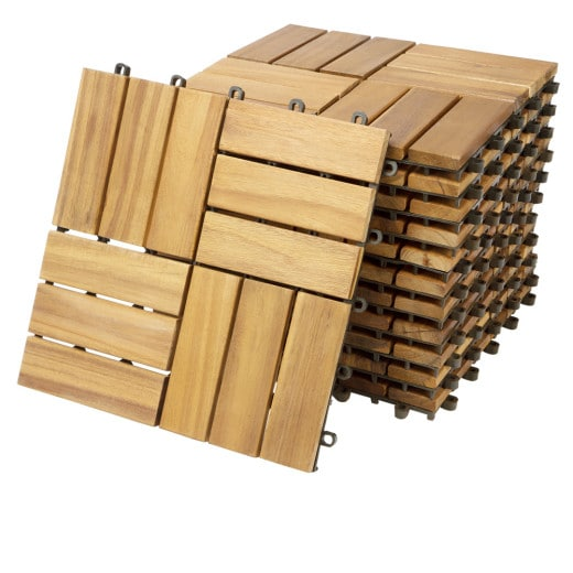 11er-Set Holzfliese aus Akazie in Mosaik Stil