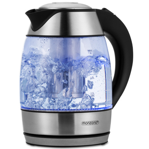 Wasserkocher Silber/Schwarz Glas 1,8L inkl. Teesieb