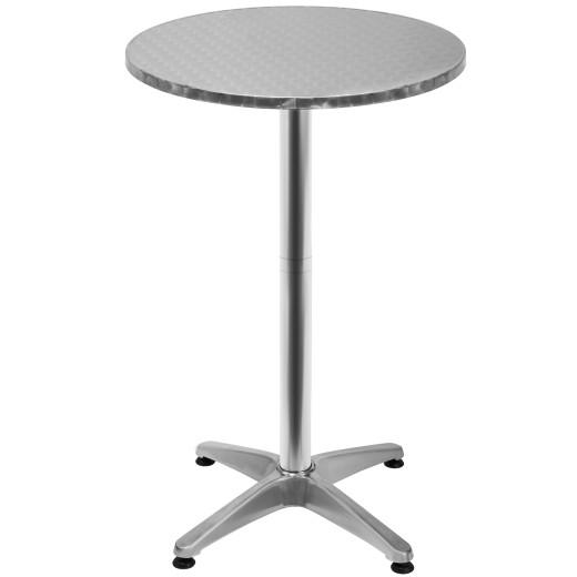 2er-Set Stehtisch Silber Alu Ø60cm höhenverstellbar