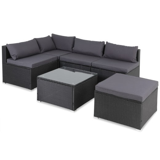 Polyrattan Lounge-Set 16-tlg. Schwarz/Anthrazit