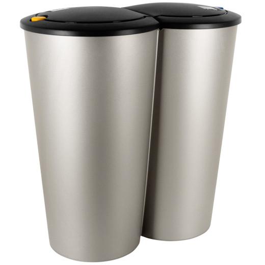 Doppelmülleimer in Silber aus Kunststoff 2x25L