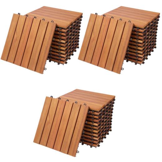 Holzfliese 33er-Set Eukalyptusholz FSC®-zertifiziert