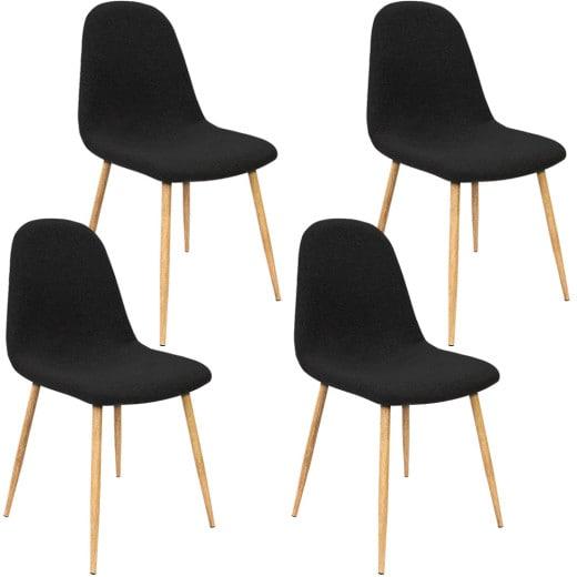 4er-Set Design Stuhl in Schwarz Stoffbezug