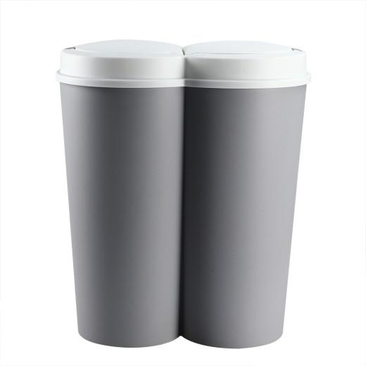 Doppelmülleimer Grau 2x25L Kunststoff