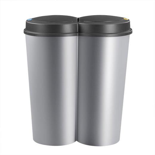 Doppelmülleimer Silber Kunststoff 2x25L
