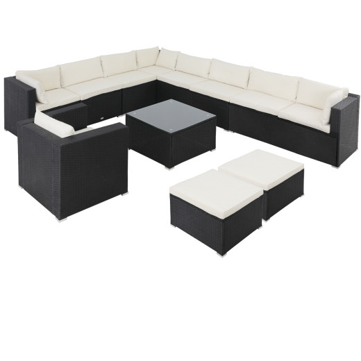 Polyrattan Lounge XXL 35-tlg. Schwarz/Creme