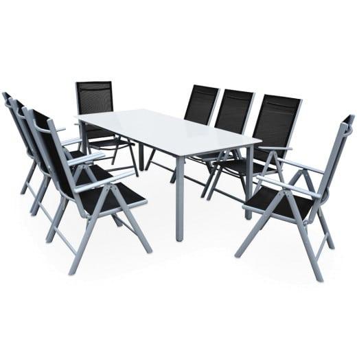 Sitzgruppe Bern 9-tlg. Silber Alu Milchglas