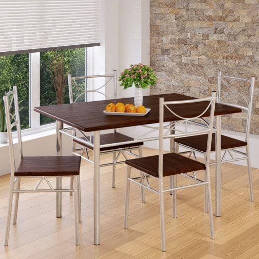 5tlg Sitzgruppe »Paul« - Esstisch + 4 Stühle - Eiche dunkel